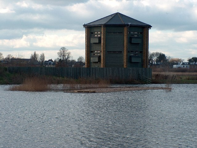 Bird hide at London Wetlands Centre, Barnes.
