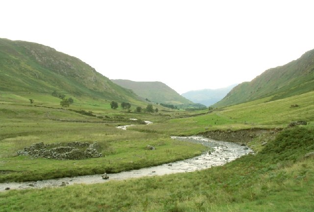 Newlands Beck meanders down Newlands valley
