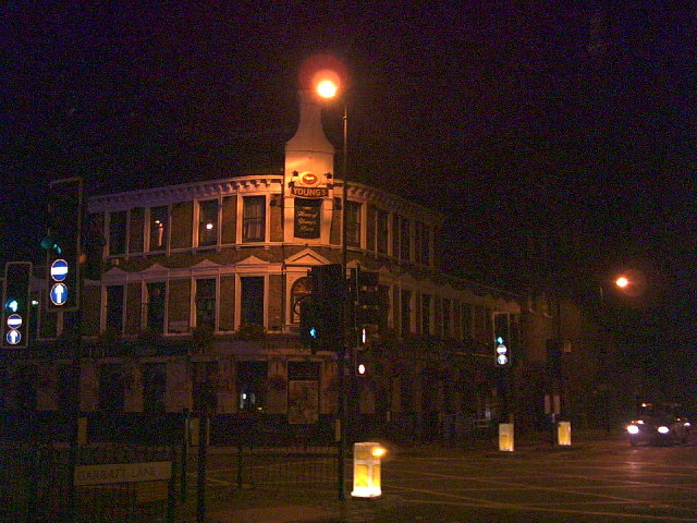 Young's Brewery, Wandsworth, by night. Junction of A3 and A217