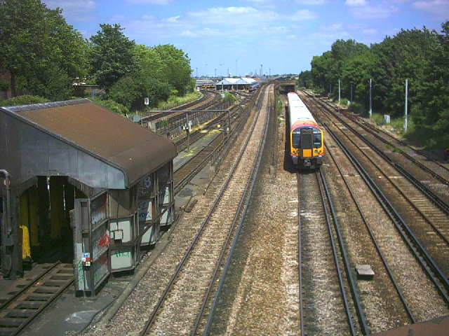 Rail junction North of Wimbledon Station.
