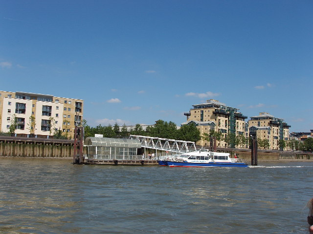 Riverbus at Pier on Limehouse Reach, The Thames