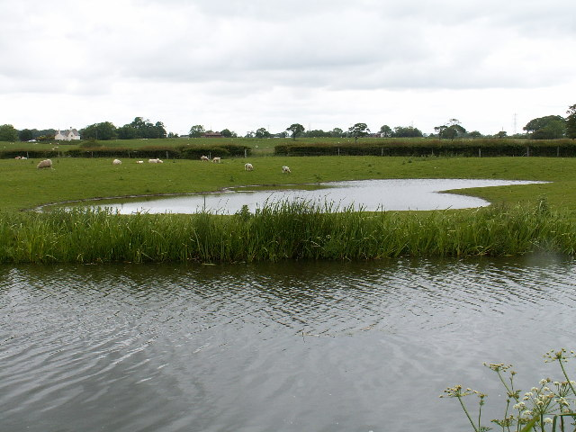 Lancaster canal and a pond in the adjacent field