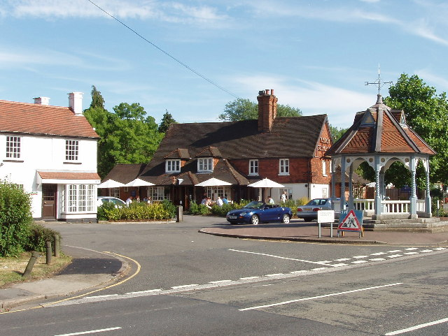 Ickenham - water pump, pub, and houses