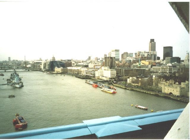 Thames west from upper walkway of Tower Bridge.