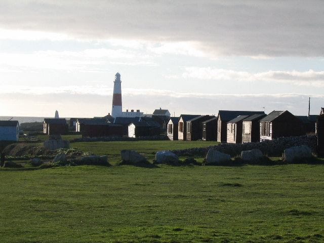 Portland Bill Lighthouse with added beach huts