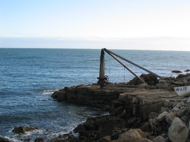Durdle Pier, with hoist used for fishing boat.