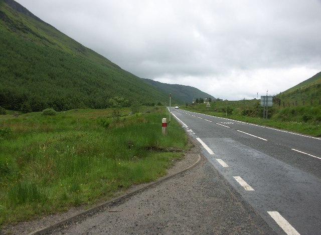 View West along the A83 in Glen Kinglas
