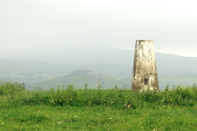 Trig point overlooking Carreg Cennen Castle
