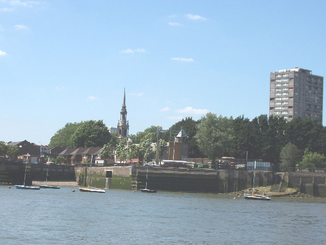 St Pauls Church Shadwell and the Thames riverfront
