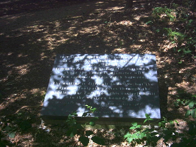 Plaque marking east end of Caesar's Camp, Wimbledon Common.