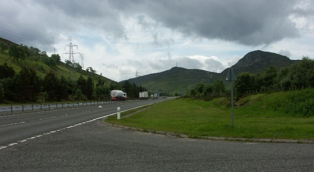 Old A9 rejoins the A9 North of Crubenmore