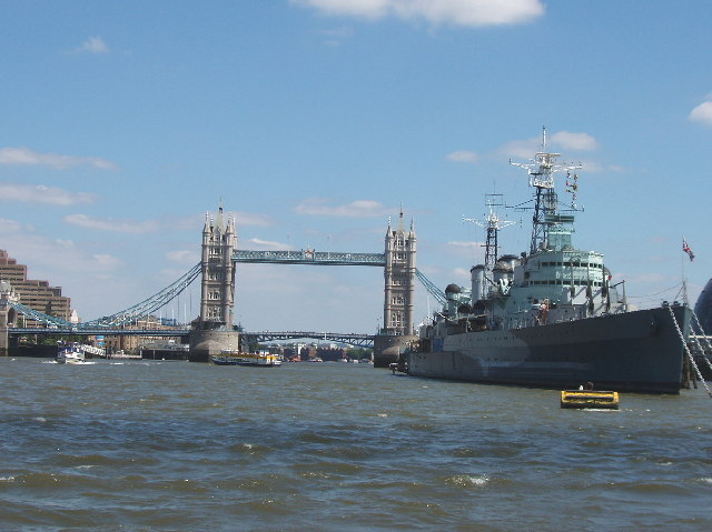 Tower Bridge and HMS Belfast on the River Thames