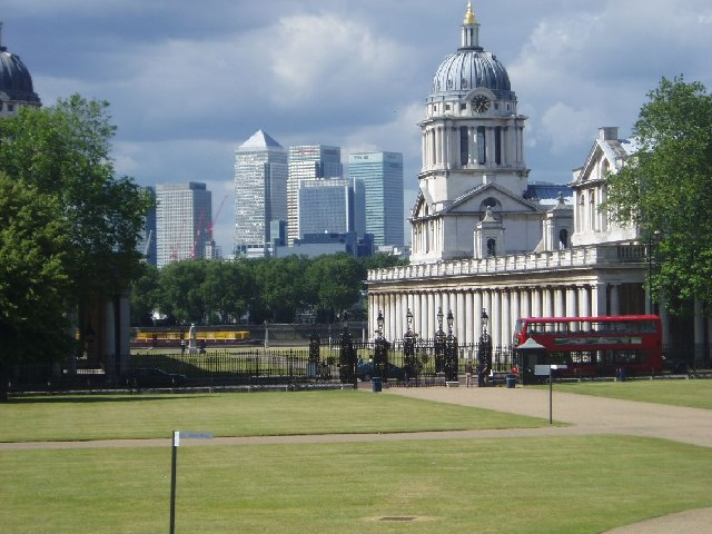 Canary Wharf buildings from Greenwich