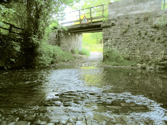 Ford and Rail Bridge near Meusydd