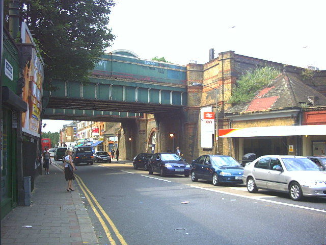 Twin railway bridges over Garratt Lane at Earlsfield Station.