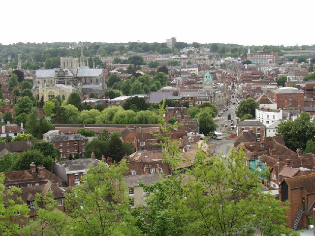View over Winchester from St Giles' Hill
