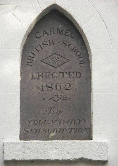 Plaque on old British School in Carmel