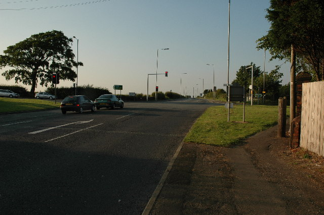 Crossroads along A57 near Rainhill