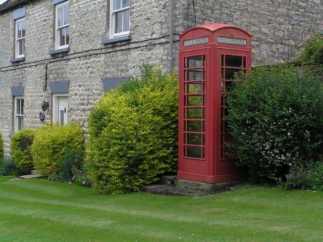 Old red telephone box at Nunnington