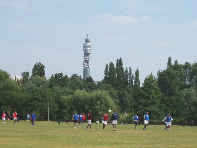 Regent's Park football, view to BT Tower