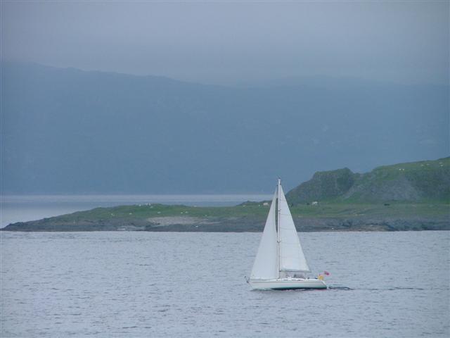 Yacht Passing Rubha Fiart on Lismore