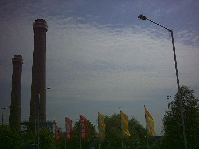 Old power station chimneys, Ampere Way.