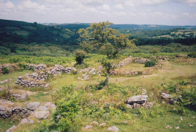 Abandoned medieval village below Hound Tor