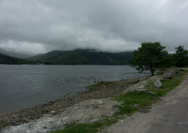 North shore of Loch Leven looking towards Ballachulish and Glencoe