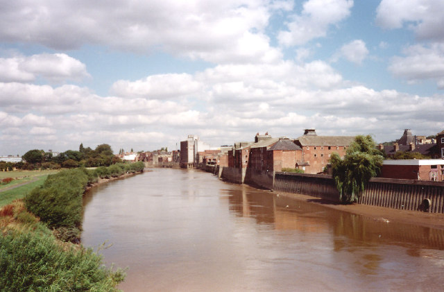 River Trent and Gainsborough waterfront 1980.