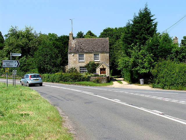 View of A417 near Ampney St Peter