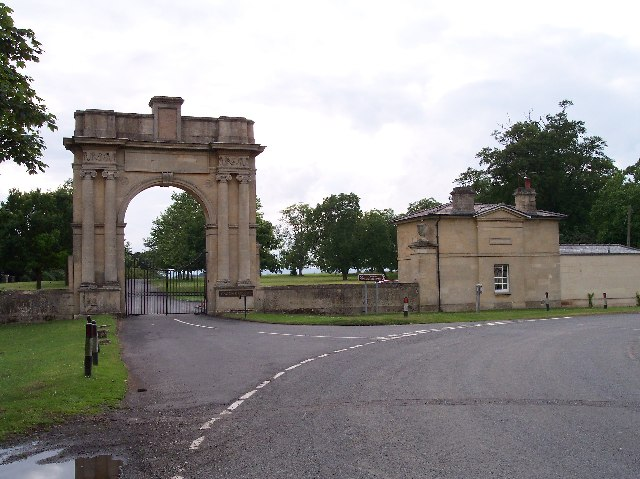 The entrance gates to Croome Court