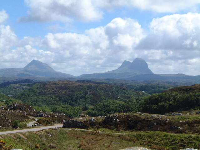 Canisp and Suilven from Stoer-Lochinver road