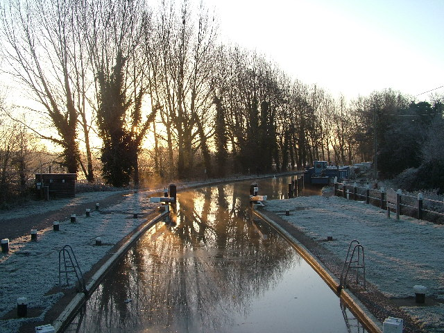 Pyrford Lock on the Wey Navigation Canal