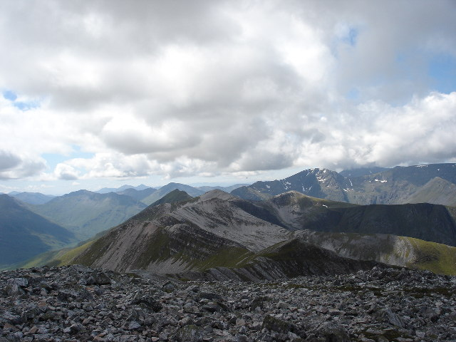 View west along Grey Corries ridge from Stob Choire Claurigh