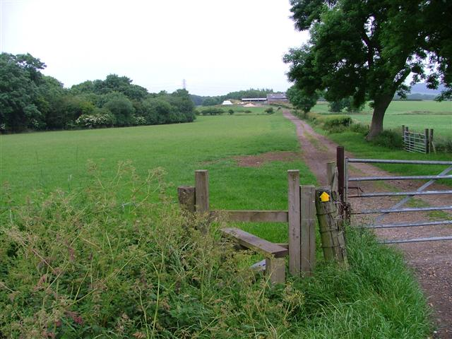 Stile and Public Footpath Waymark, Dunsdale Farm