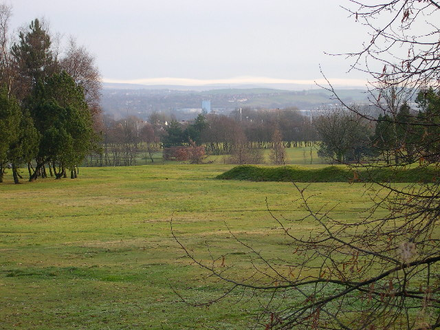 Rochdale Golf Course looking East towards the Pennine Hills beyond Rochdale town