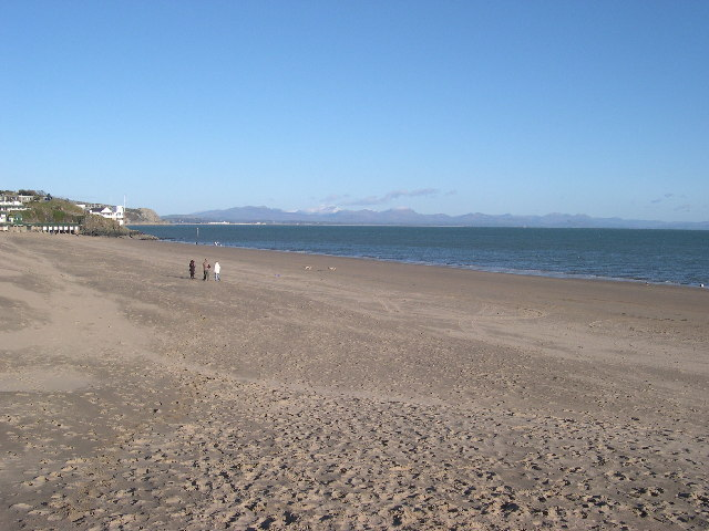 Abersoch main beach in January looking northwest towards Snowdonia across Cardigan Bay