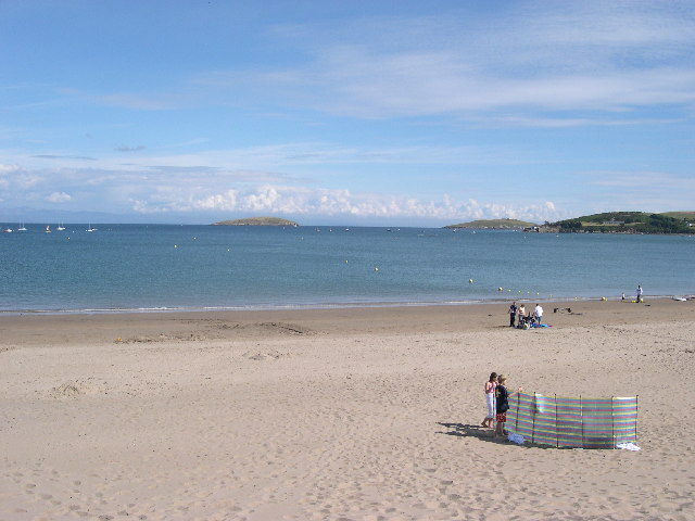 Abersoch main Beach looking seawards on a quiet sunny July day