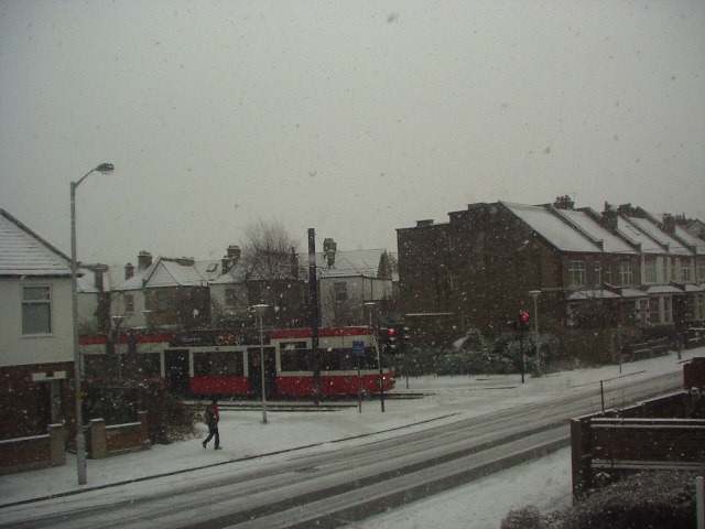 Tram and snow