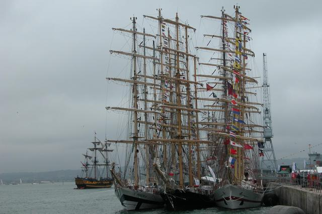 Tall ships moored for the IFOS 2005