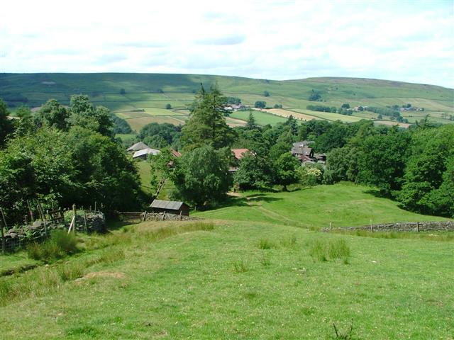 Looking down towards Botton Village from the slope above Falcon Farm