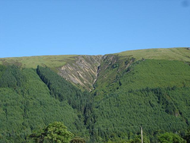 Gulley on hillside east of Kilfinnan Loch Lochy