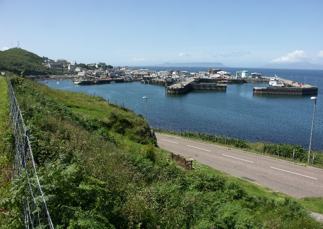 View over Mallaig Harbour towards Rum and Eigg