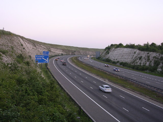 The M3: Twyford Down cutting at dusk