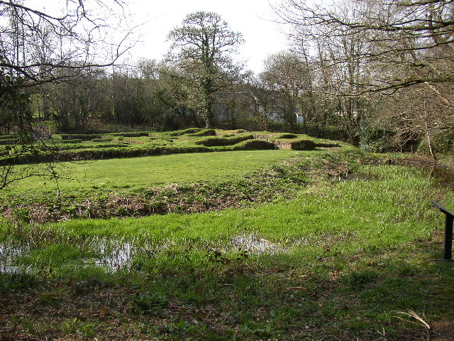 The ruins of Penhallam Moated Manor House