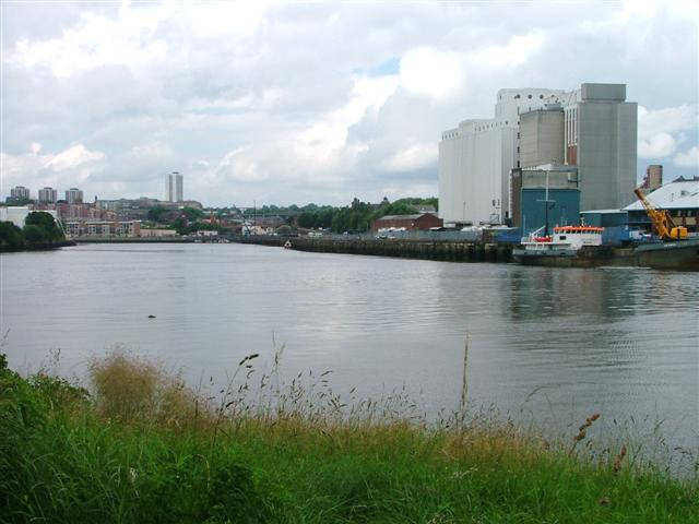 View up the Tyne with Flour Mills on the North Bank (right) and Salt Meadows on the South