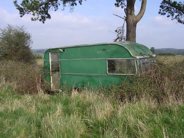 Abandoned caravan near Down Farm