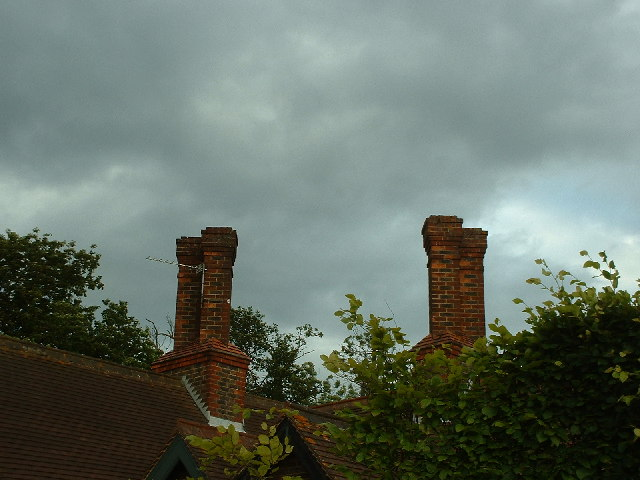 Ornamental chimney stacks on a house on Smalls Hill Road