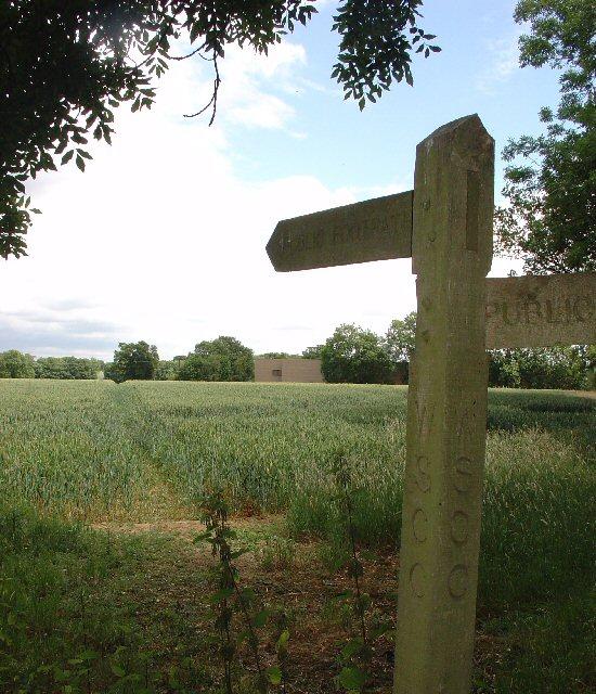 Public Footpath across fields between County Oak and Rowley Farm, Near Crawley, West Sussex.