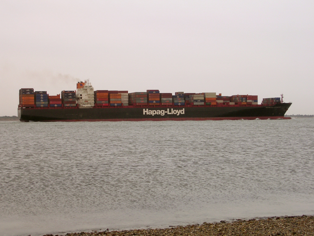 Container ship leaving Southampton Water into the Solent